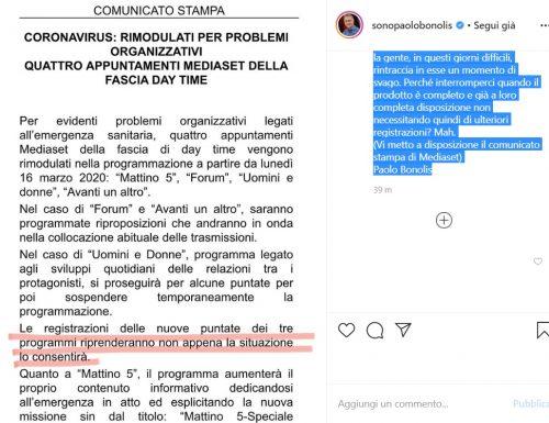 Caso Avanti un altro: Bonolis sbotta, contrario alla decisione di Mediaset di bloccare la programmazione inedita