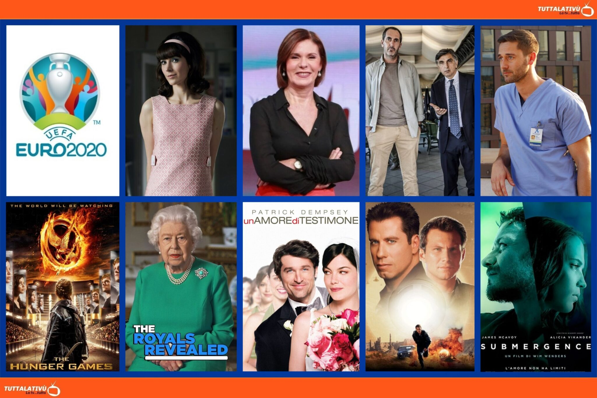 GuidaTV 22 Giugno 2021: Per Euro 2020, Repubblica Ceca-Inghilterra, New Amsterdam, Miss Fisher, #cartabianca, Hunger Games, Submergence