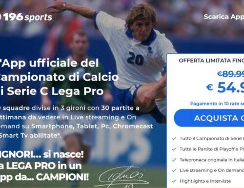 """Tutte le partite della #SerieC italiana di calcio visibili in tutto il mondo con """"196 Sports"""""""