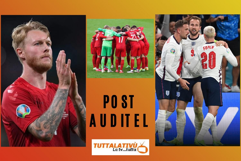 AscoltiTV 7 luglio 2021: Altra semifinale di Euro2020, con Inghilterra-Danimarca, Chi l'ha visto e Grand Hotel. Il commosso saluto a Raffaella Carrà rivoluziona il daytime