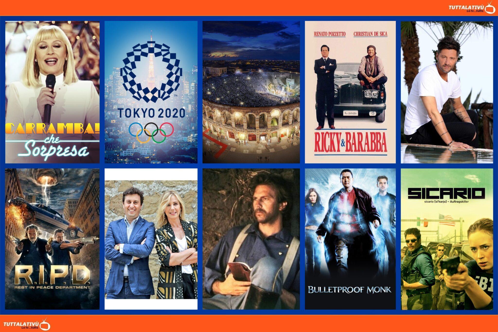 GuidaTV 27 Luglio 2021: L'ultima di Temptation Island, le Olimpiadi Tokyo 2020, Carràmba che sorpresa, la Cavalleria Rusticana, Balla coi lupi, Sicario