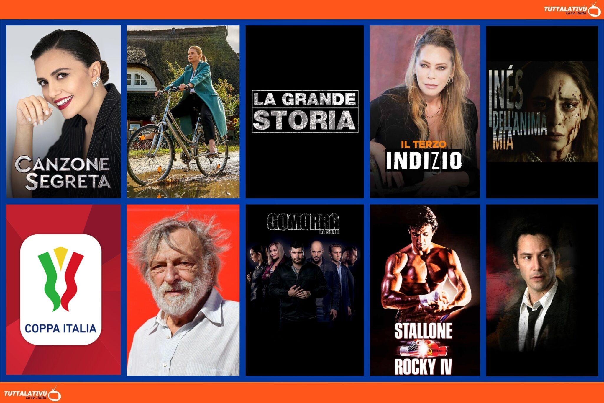 GuidaTV 13 Agosto 2021: Ines dell'anima mia, Canzone Segreta, la Coppa Italia, Ella Schon, il saluto a Gino Strada, Rocky IV, Constantine