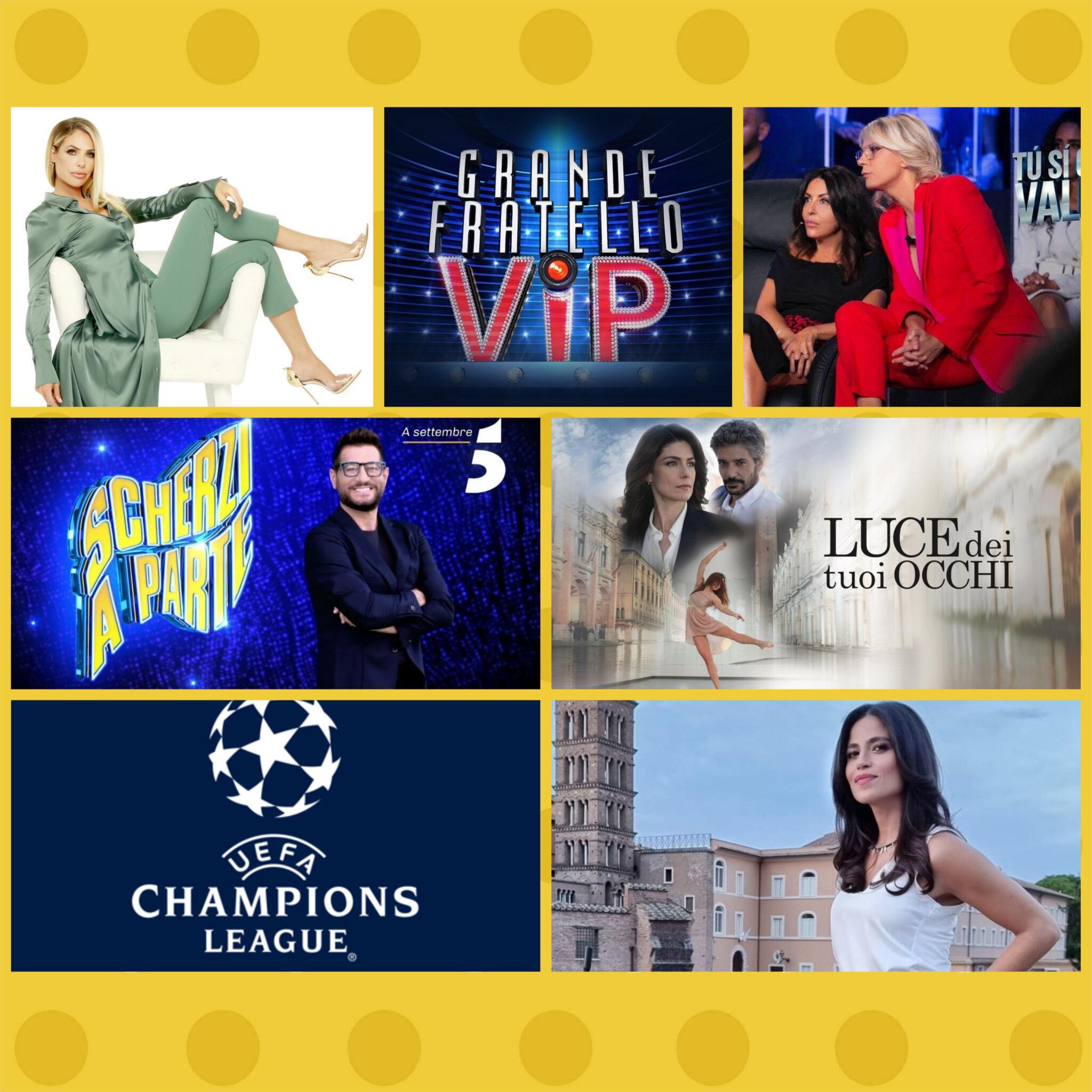 Programmazione 12 - 18 settembre 2021 Rai e Mediaset: Partono Scherzi a parte, il GFVip, Luce dei miei occhi, Star in the star, Tu si que vales