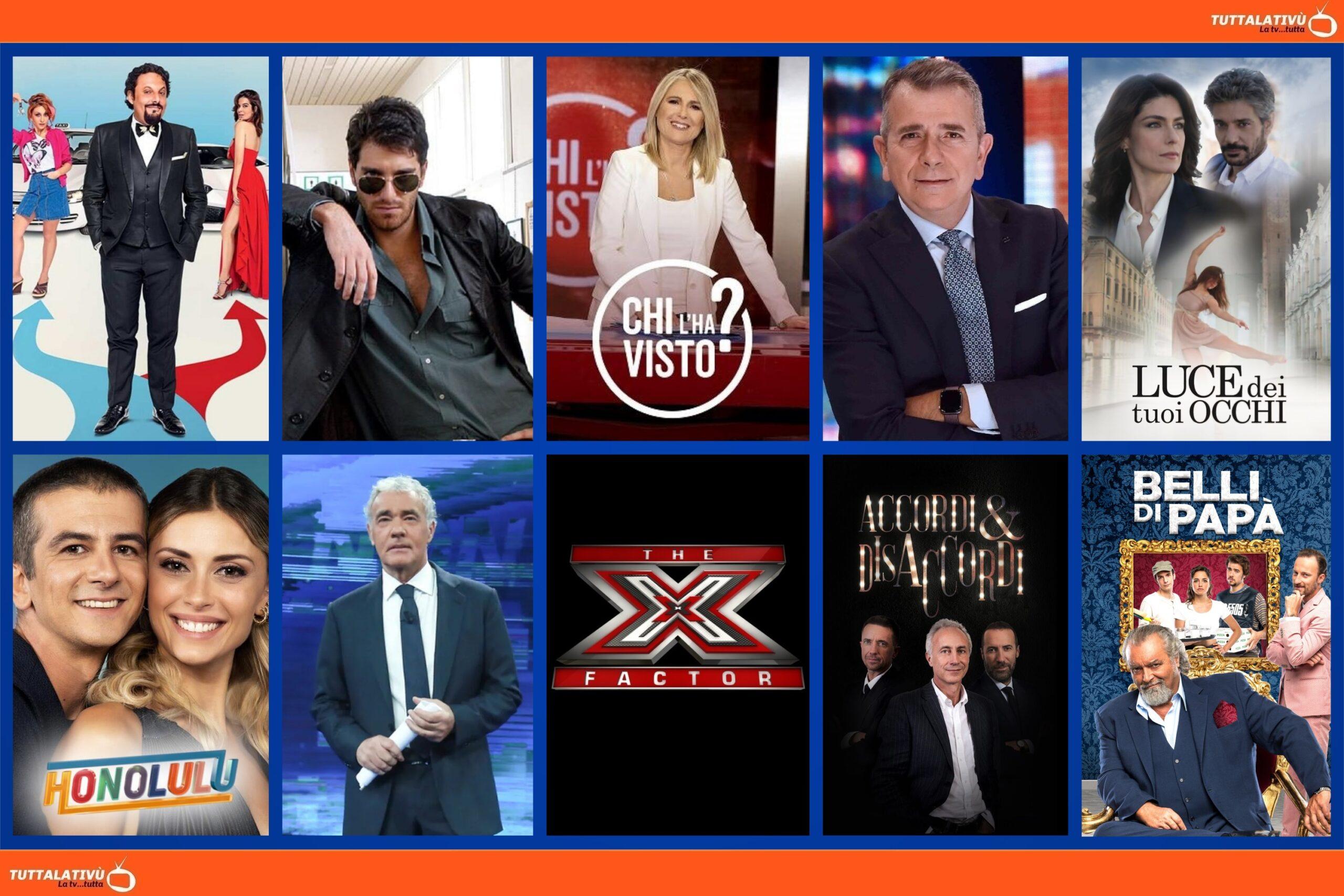GuidaTV 13 Ottobre 2021: Tutta un'altra vita vs Luce dei tuoi occhi, Coliandro, Chi l'ha visto?, Non è l'Arena; X-Factor, Belli di papa